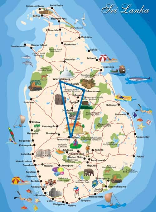 Cultural triangle sri lanka, map of cultural triangle tour sri lanka
