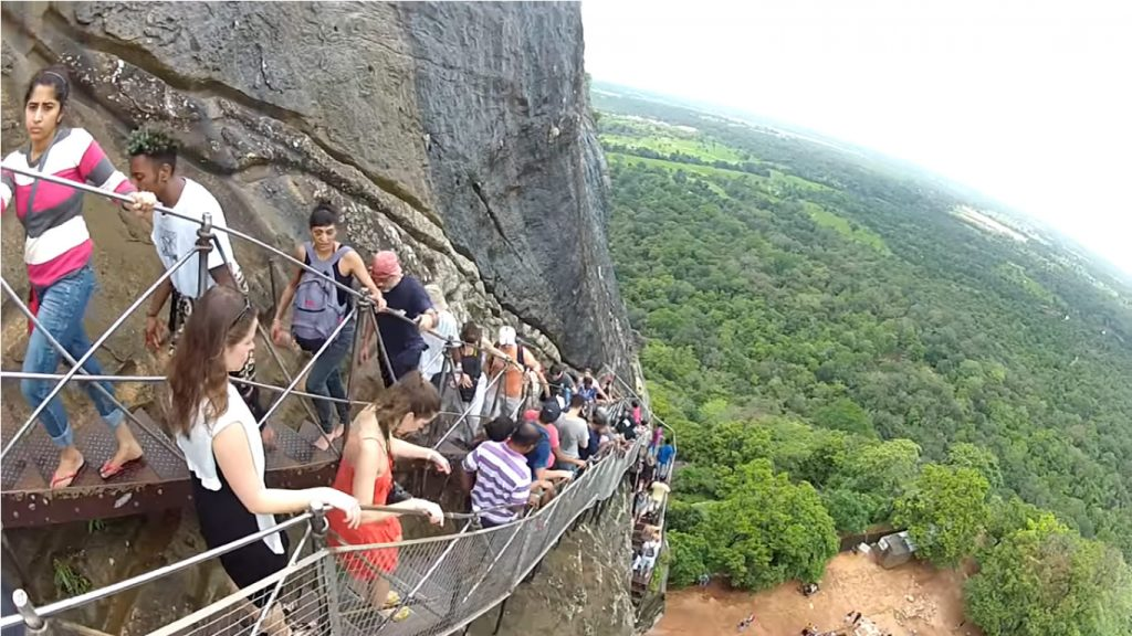 Ascending the Sigiriya rock